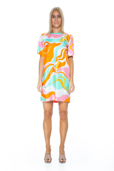 RIVERA PRINT SILK TEE DRESS