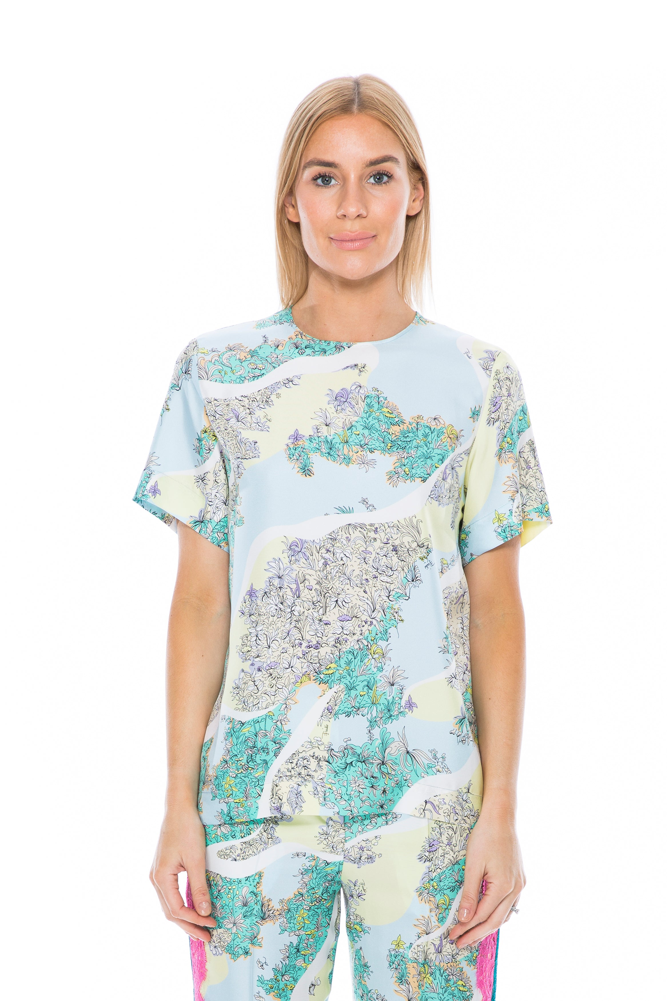 2ed291e839e857 Emilio Pucci Silk Printed Short Sleeve Top – THE STYLE SET