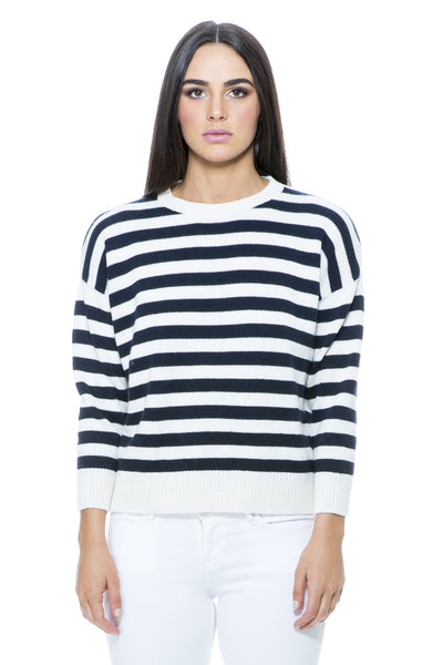IVORY AND NAVY STRIPE CASHMERE KNIT
