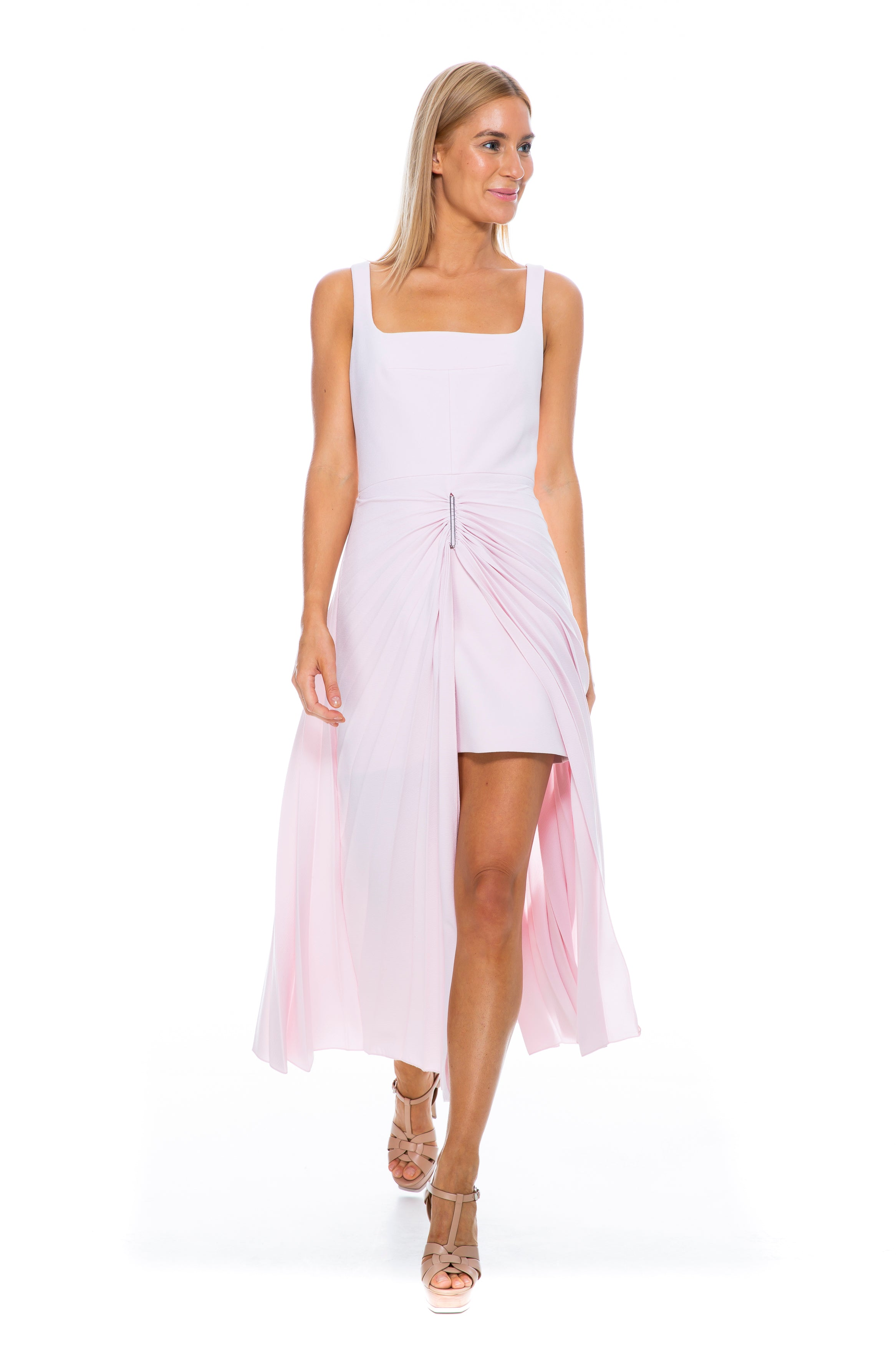 ELLIPSE PLEAT SUNRAY DRESS PINK