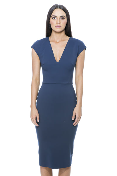 CAP SLEEVE V NECK FITTED DRESS NAVY