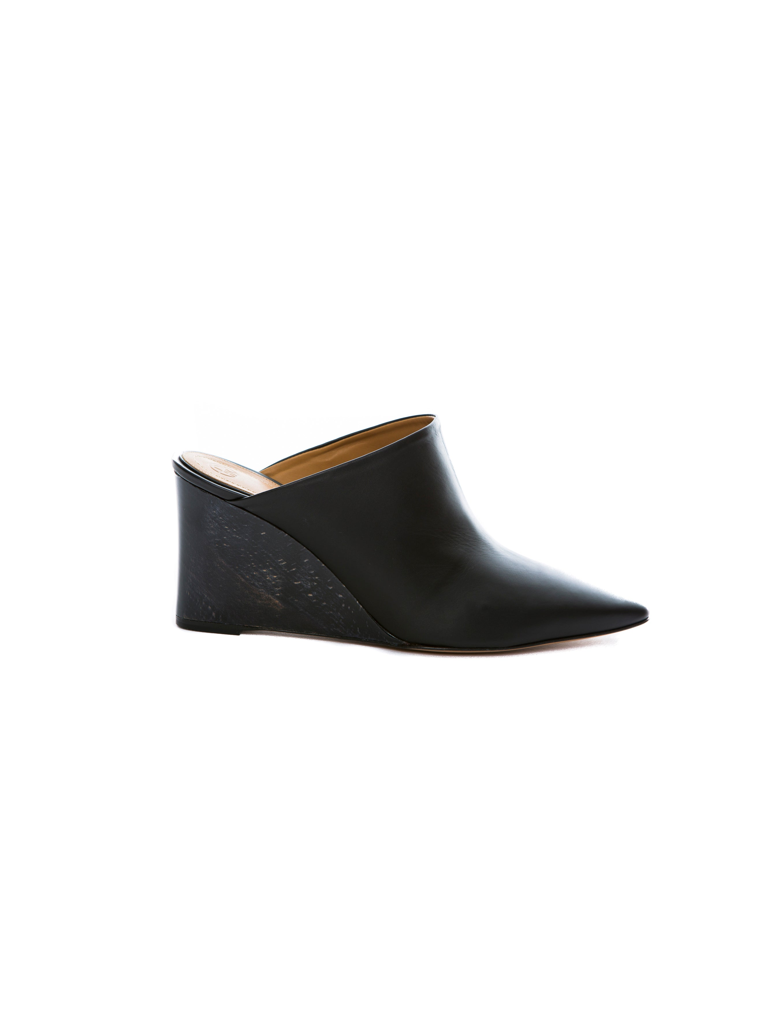 FLORA LEATHER WEDGE MULE BLACK