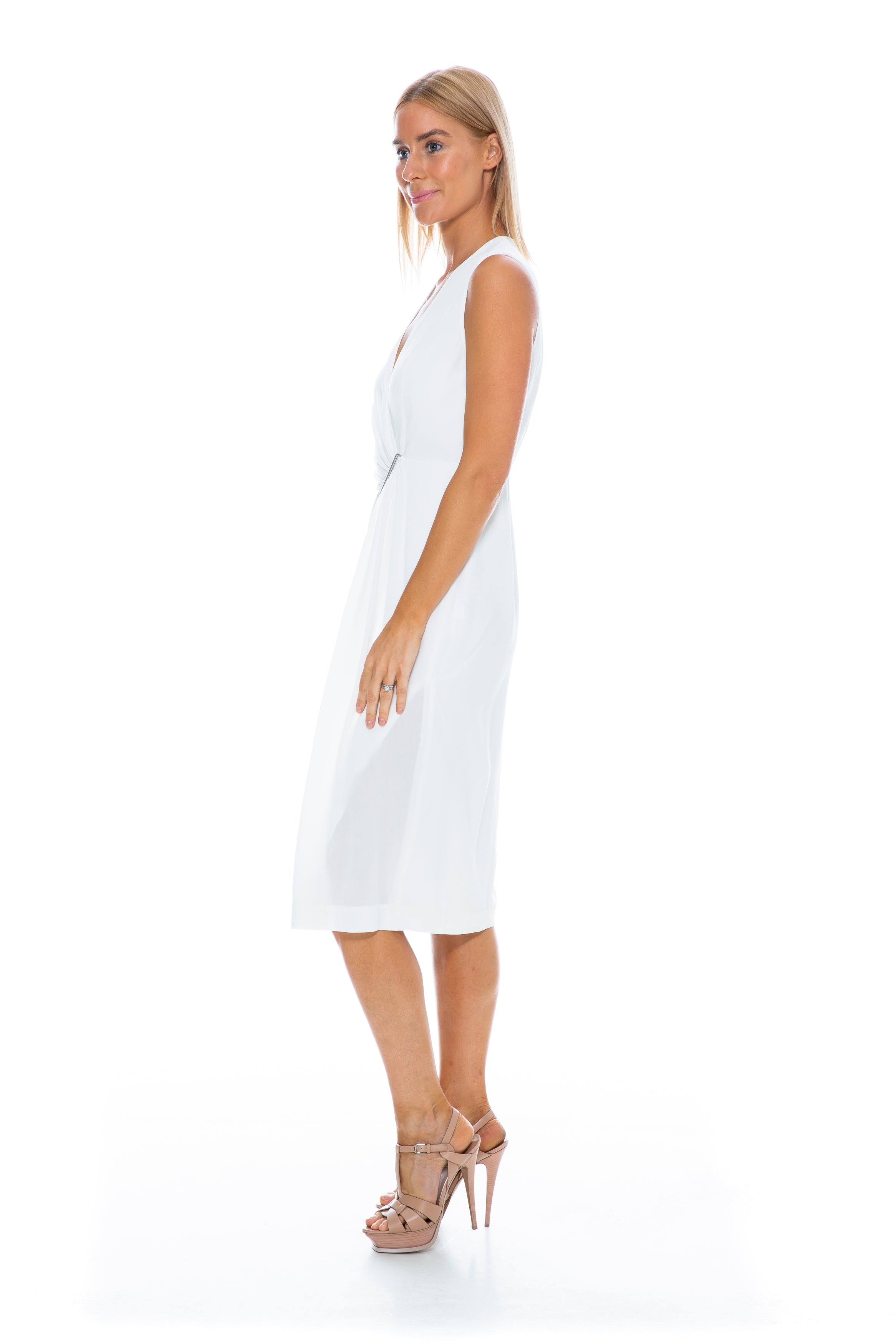 CINCHED PLISSE SIDE TWIST DRESS WHITE