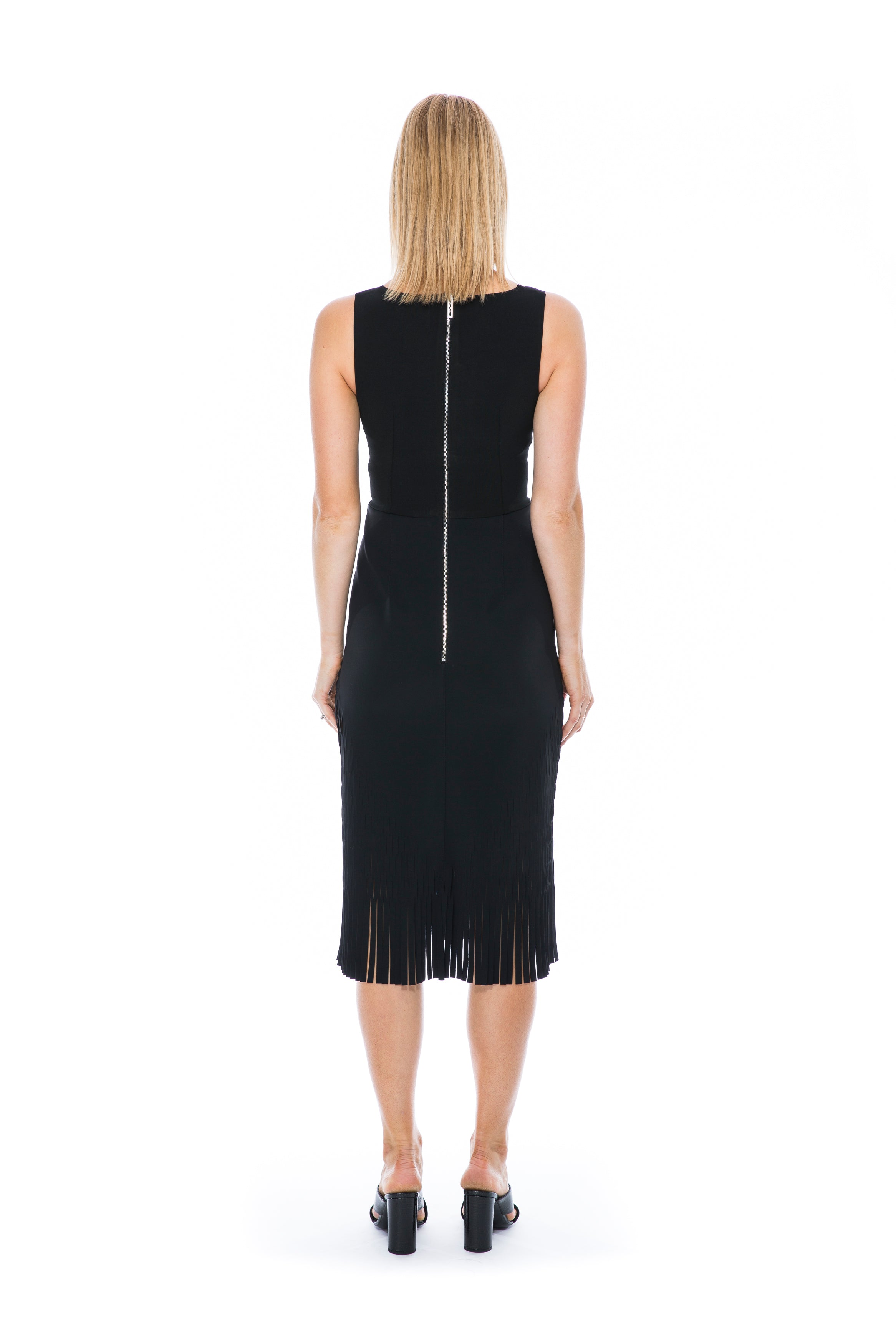 PERFORATED MIRROR DRESS BLACK