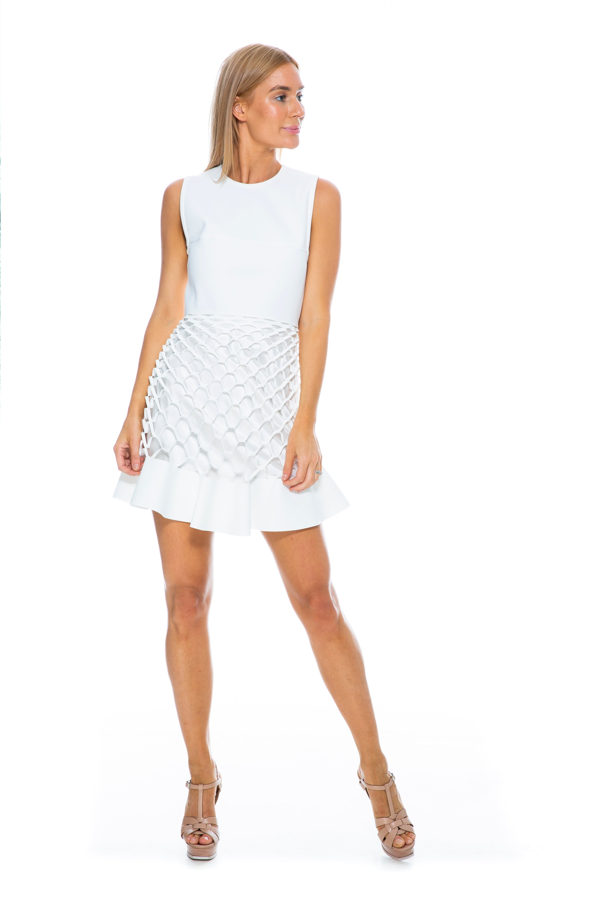 HONEYCOMB RUFFLE DRESS