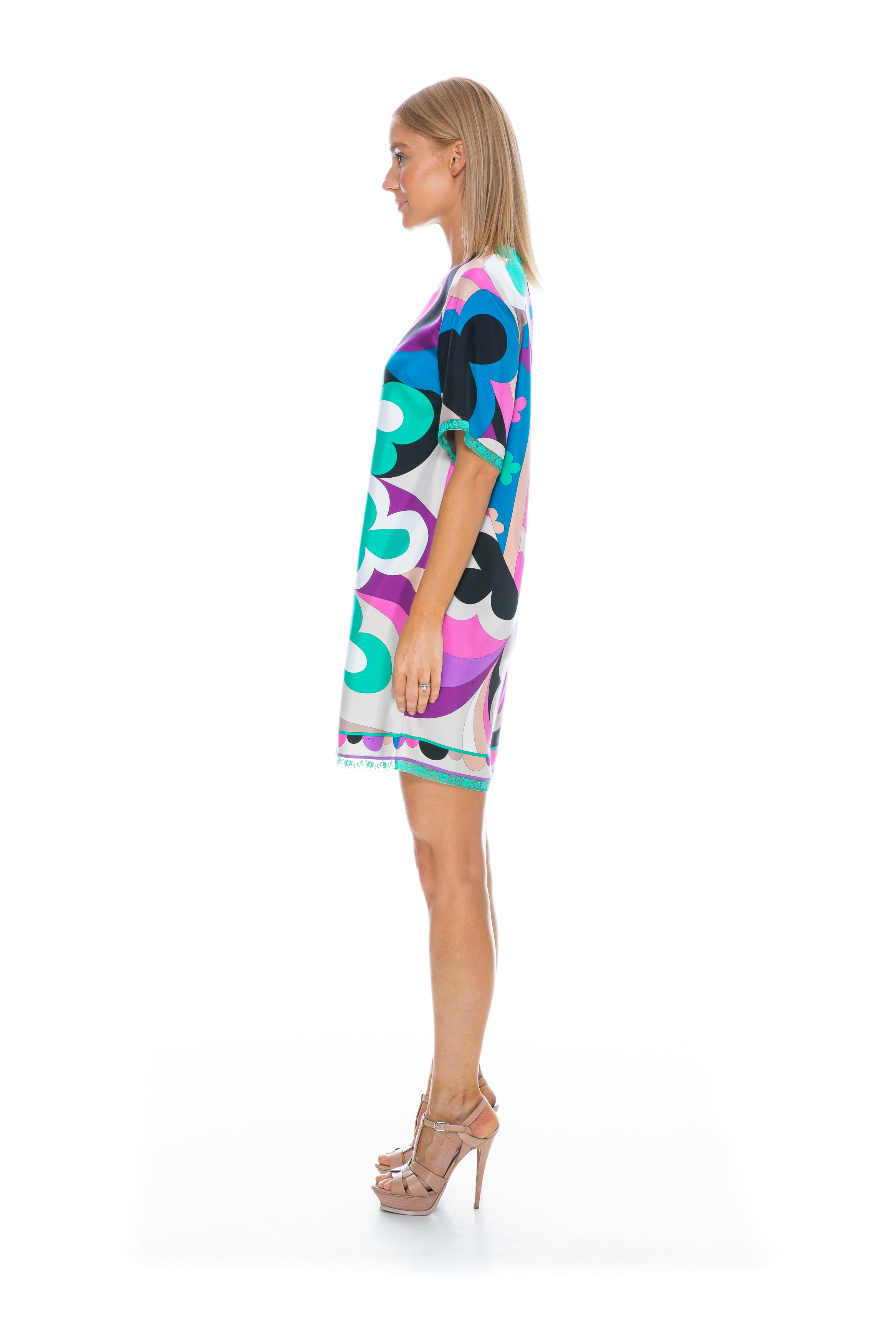 SHORT SLEEVE SILK DRESS MULTICOLOUR