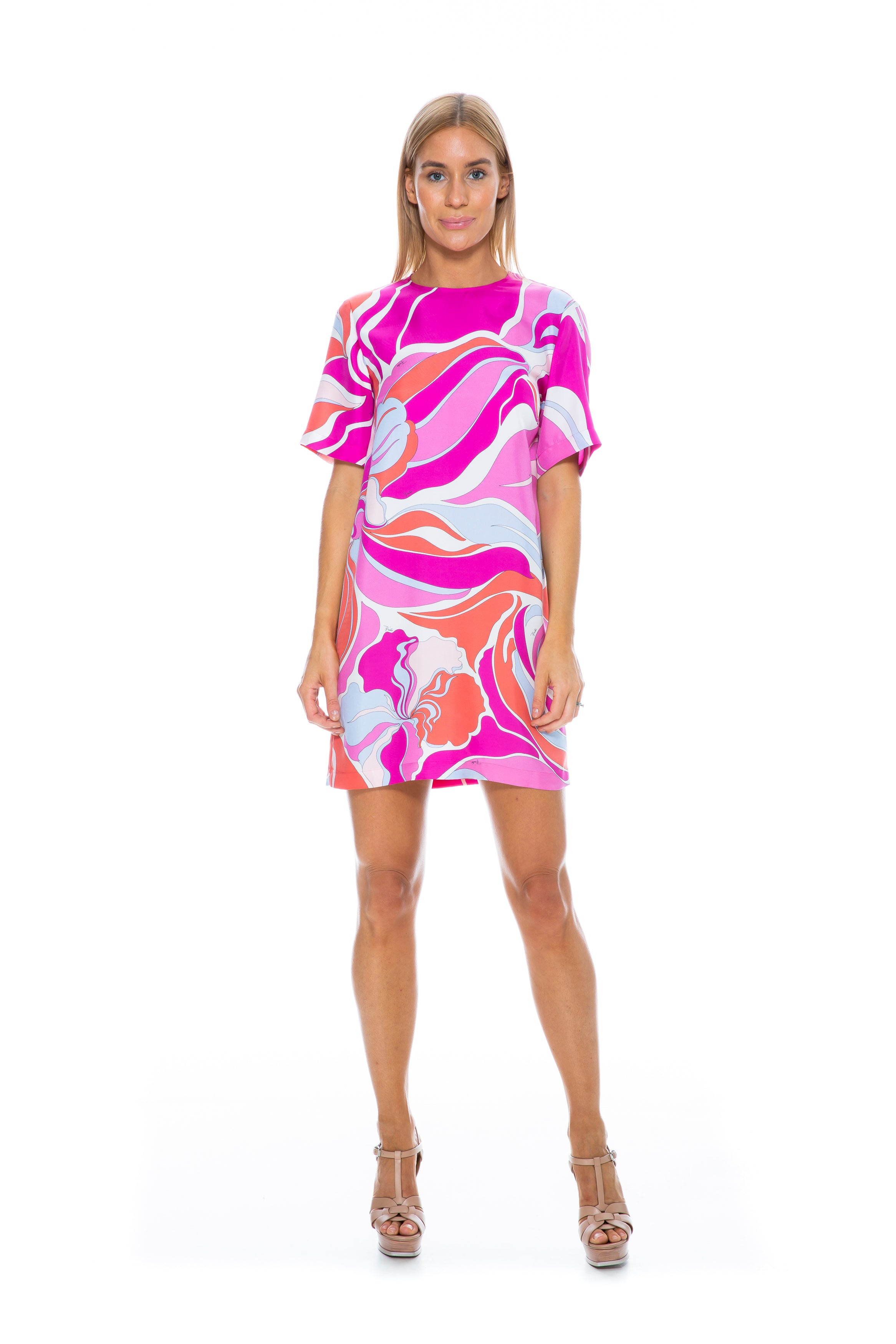 SHORT SLEEVE PINK PRINT TEE DRESS