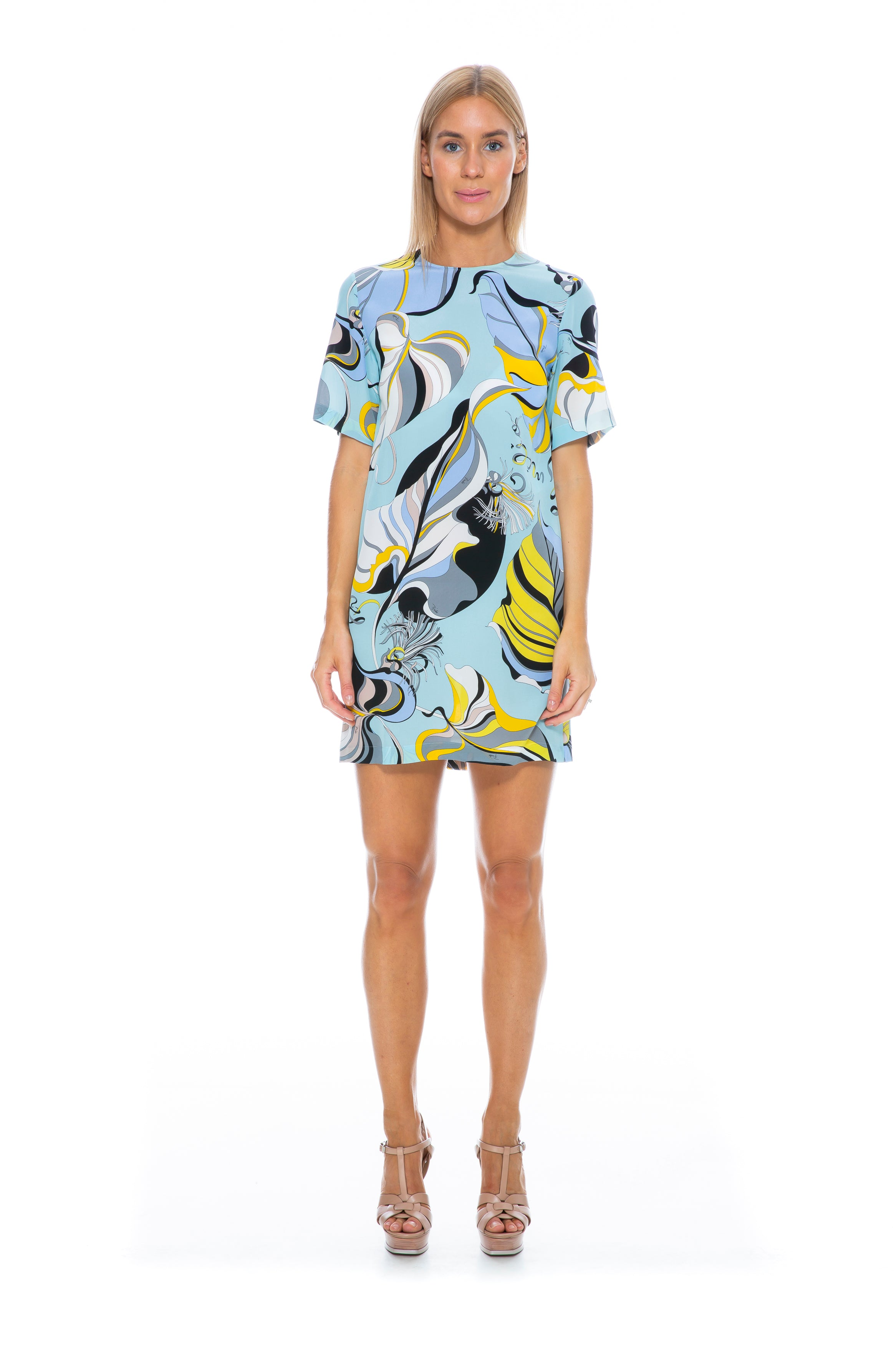 PALE BLUE SHORT SLEEVE PRINTED DRESS