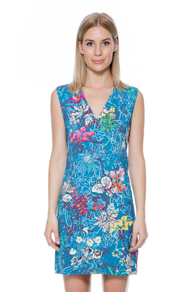 STAMP V NECK DRESS BLUE FLORAL