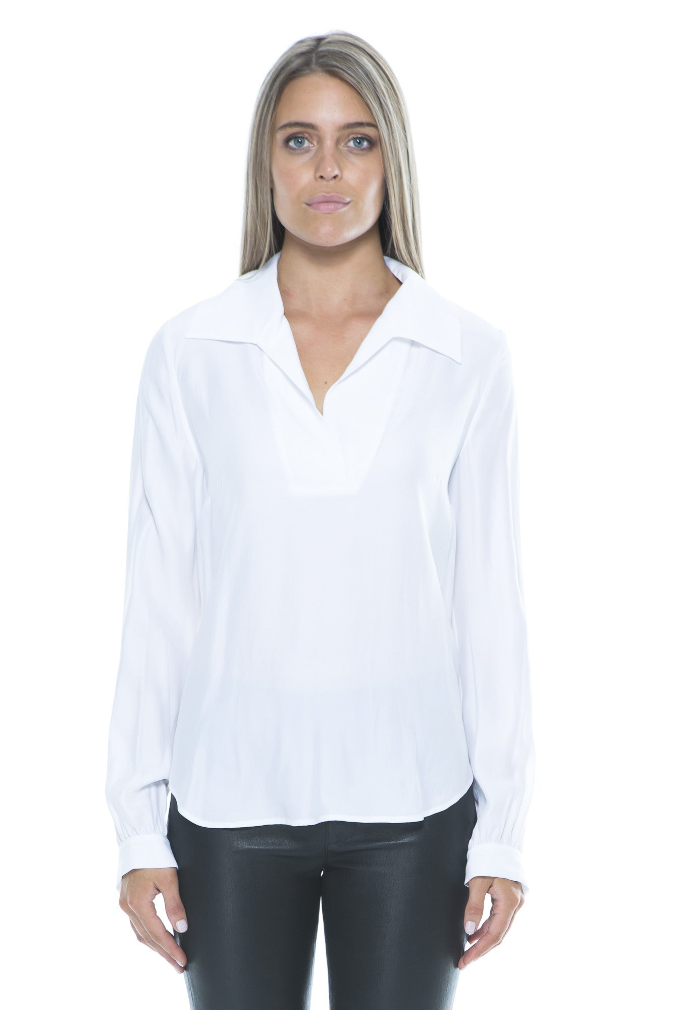 WHITE SILK SHIRT WITH BACK TIE