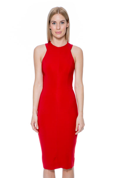 CUT OUT BACK FITTED DRESS RED
