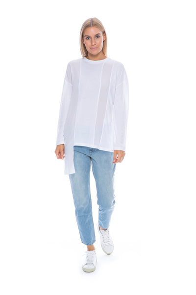 LONG SLEEVE PANEL TOP WHITE