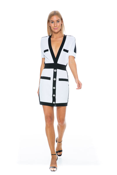 SHORT SLEEVE WHITE AND BLACK KNIT DRESS