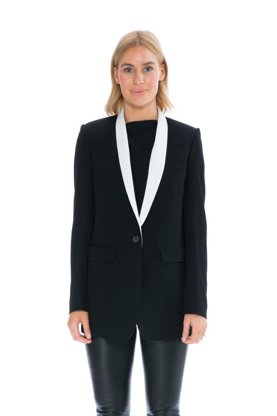 PIVALI JACKET IN BLACK WITH WHITE SATIN LAPEL