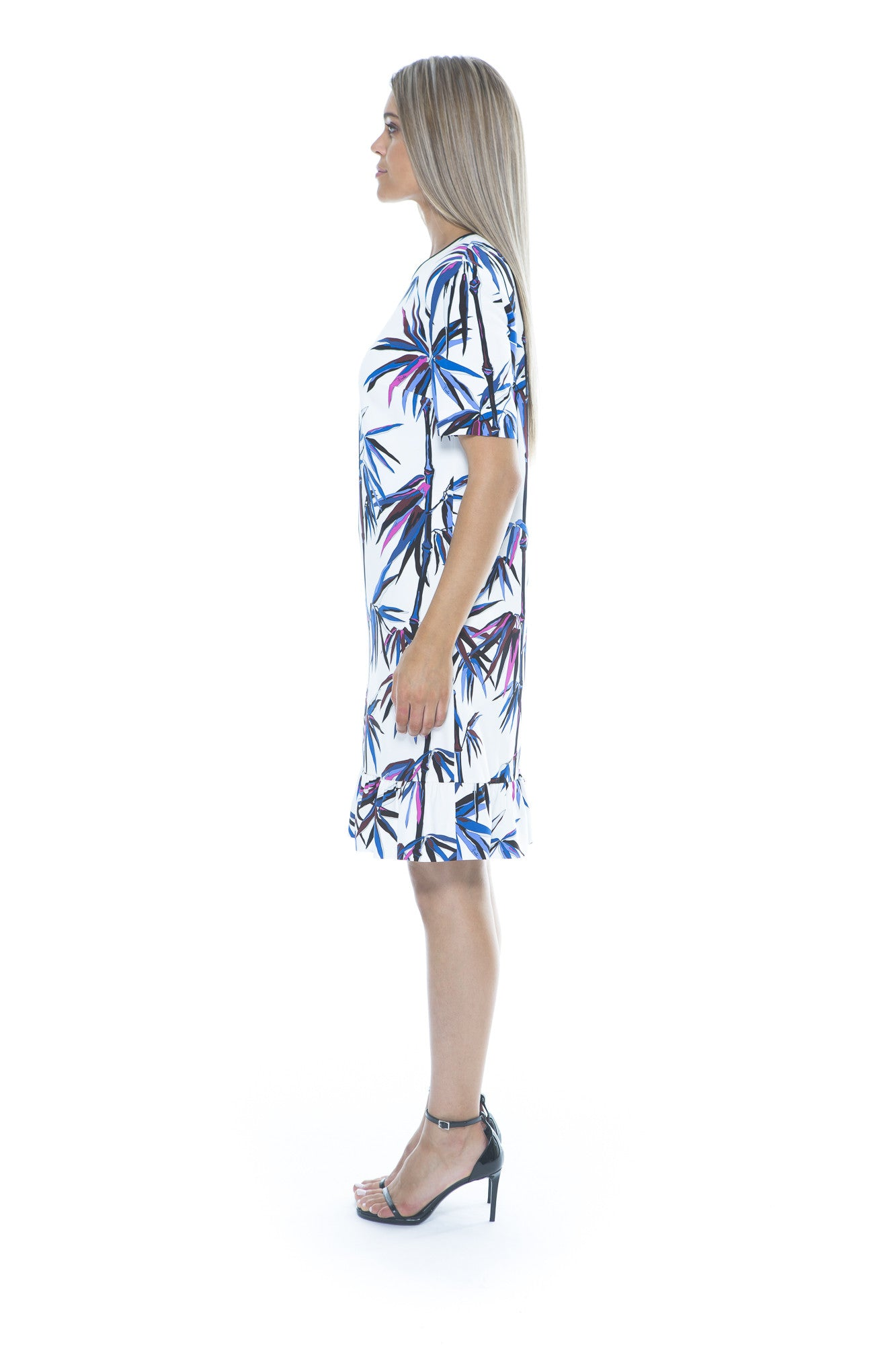 BAMBOO PRINT DRESS WHITE