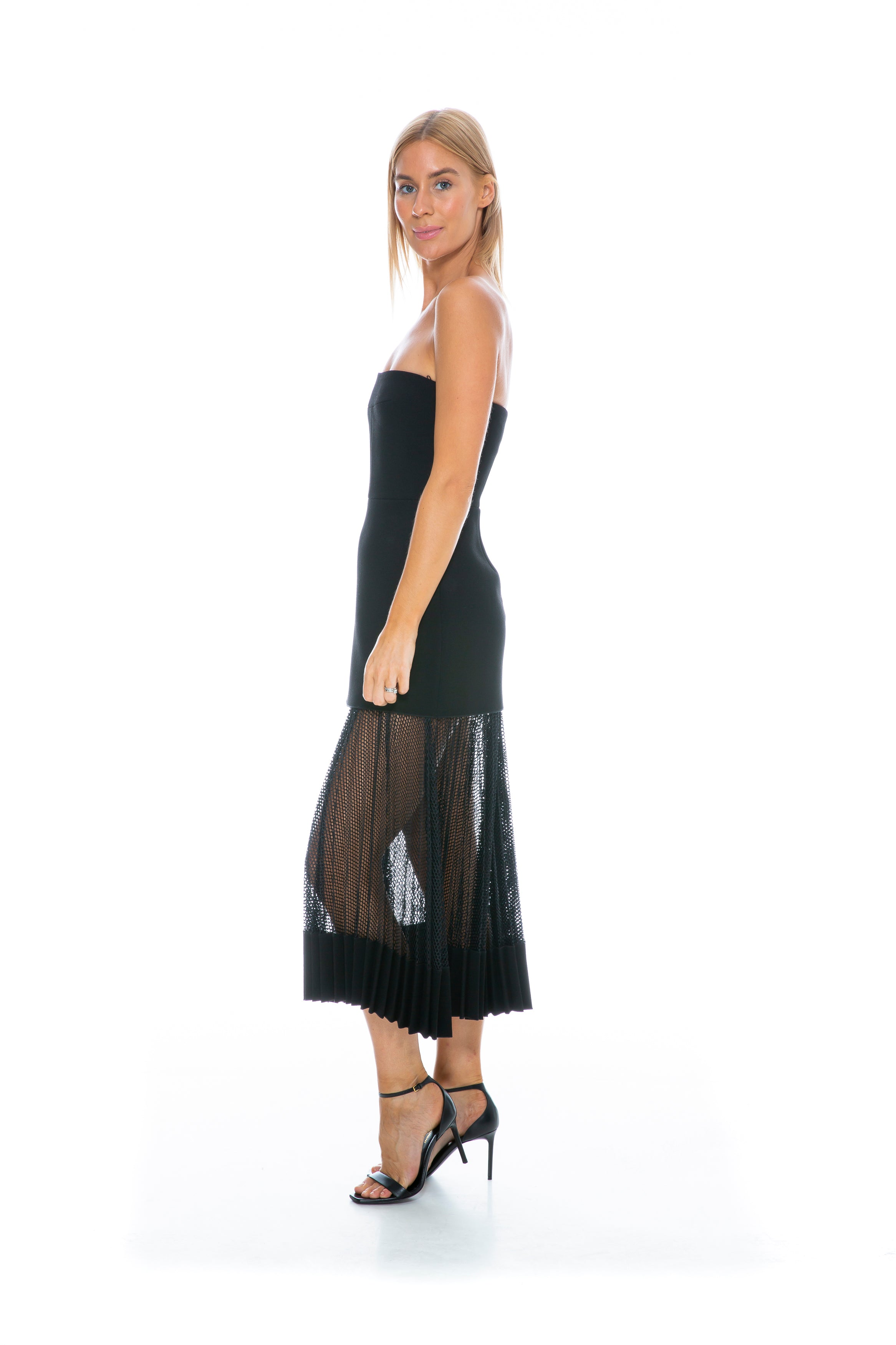 NET PLEAT STRAPLESS DRESS BLACK