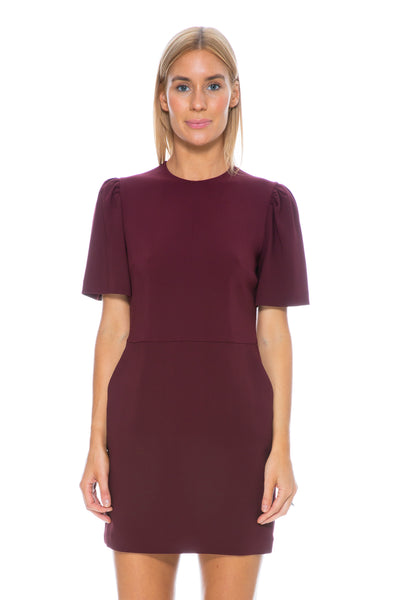 SHORT SLEEVE DRESS BORDEAUX