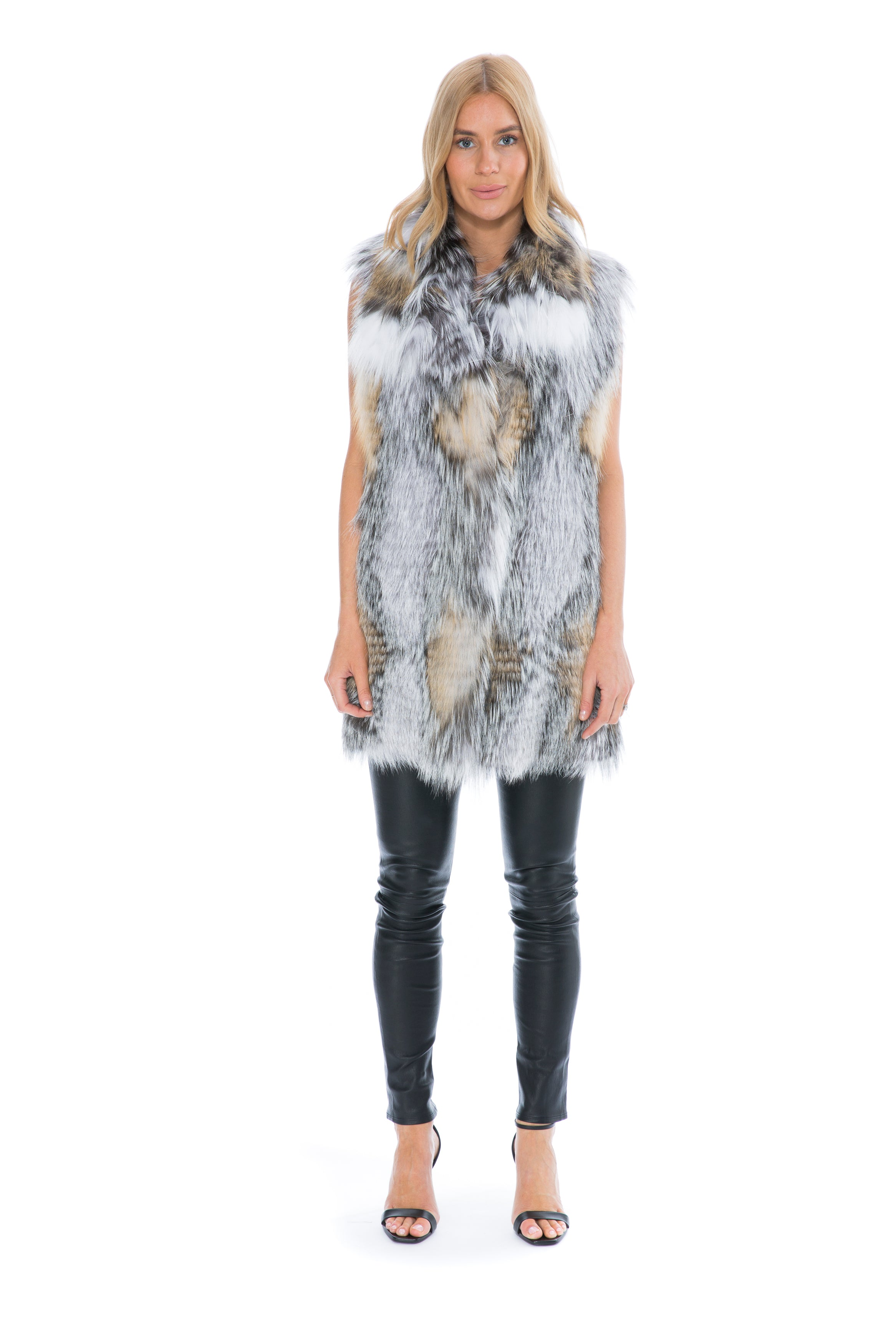FOX FUR VEST IN MIX NATURAL