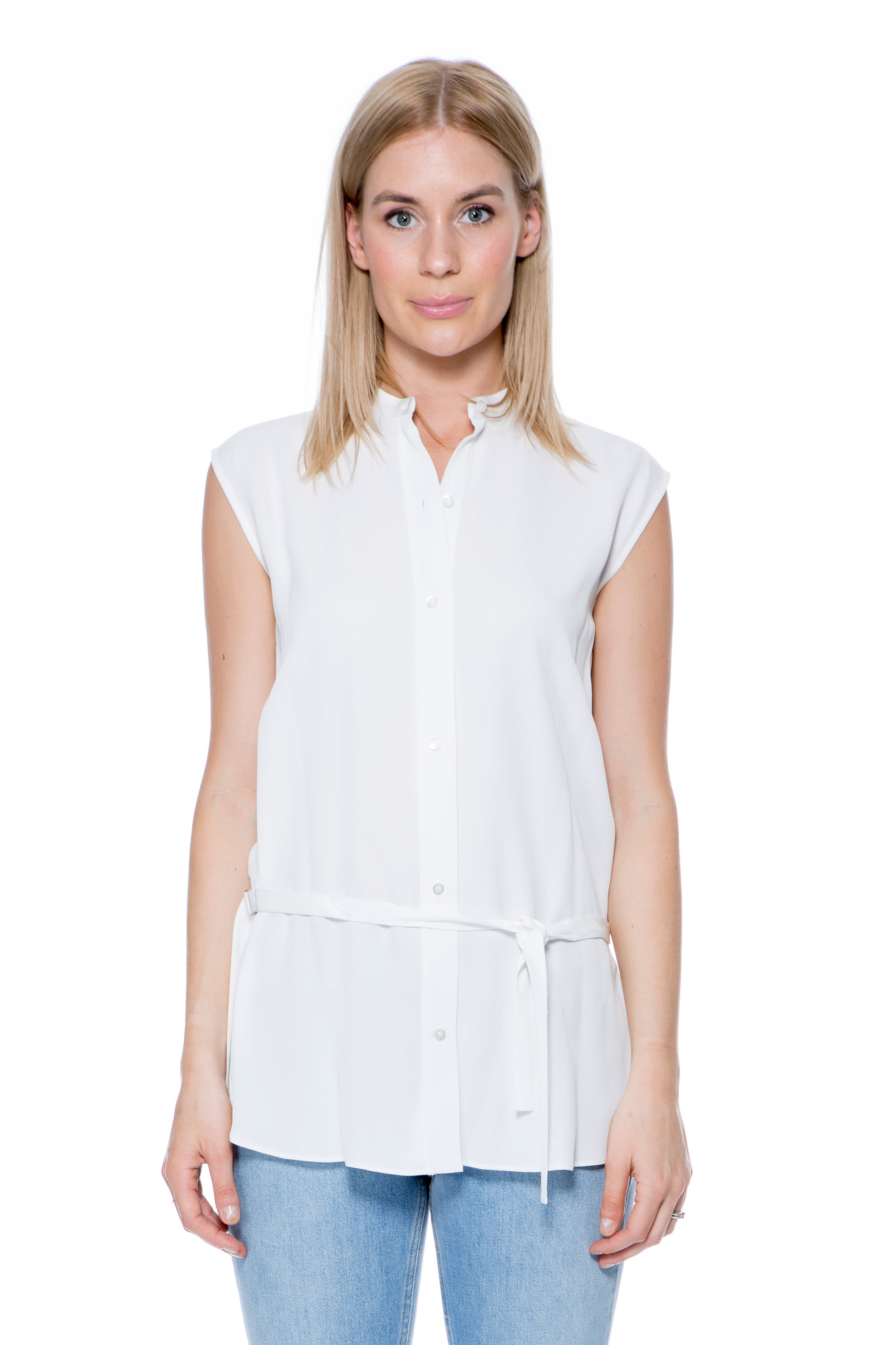 SLEEVELESS SHIRT WITH SPLIT BACK