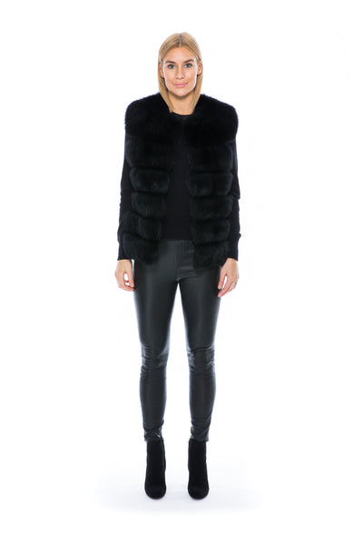 FOX FUR VEST BLACK