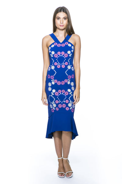 EMBROIDERED STRAP DRESS COBALT