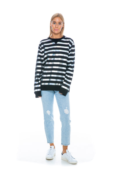 BLACK AND SILVER STRIPE SWEATER
