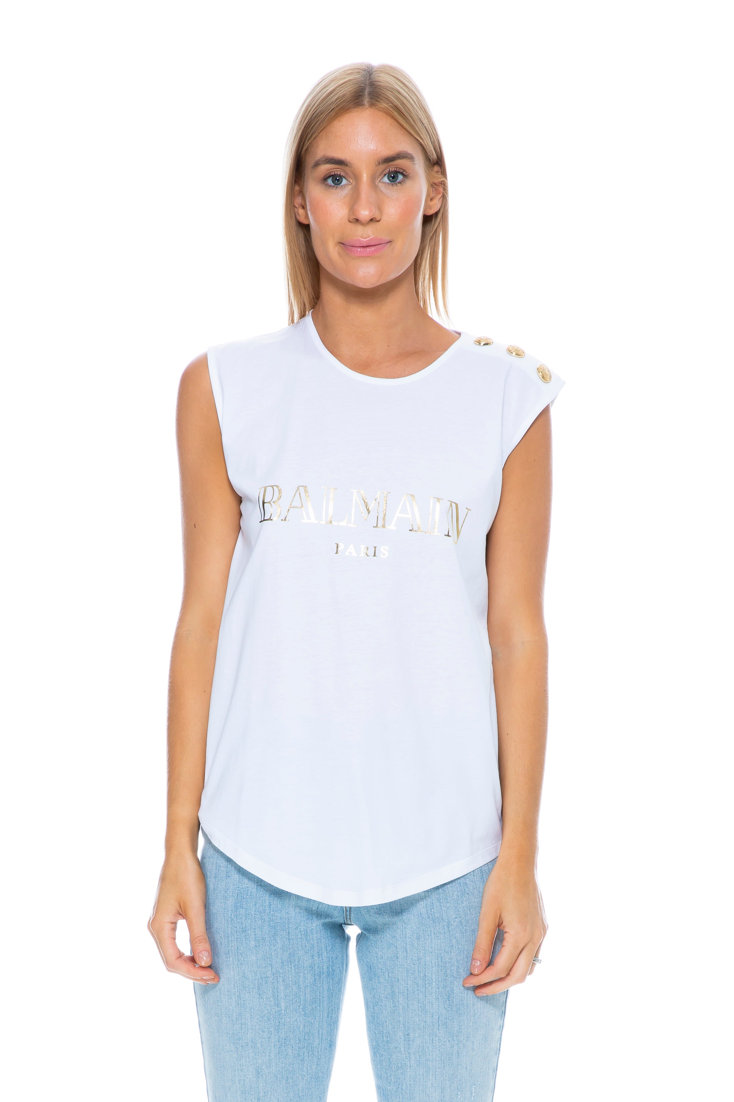 LOGO TANK WHITE / GOLD