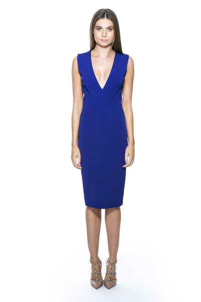 SLEEVELESS DEEP-V FITTED DRESS ELECTRIC BLUE
