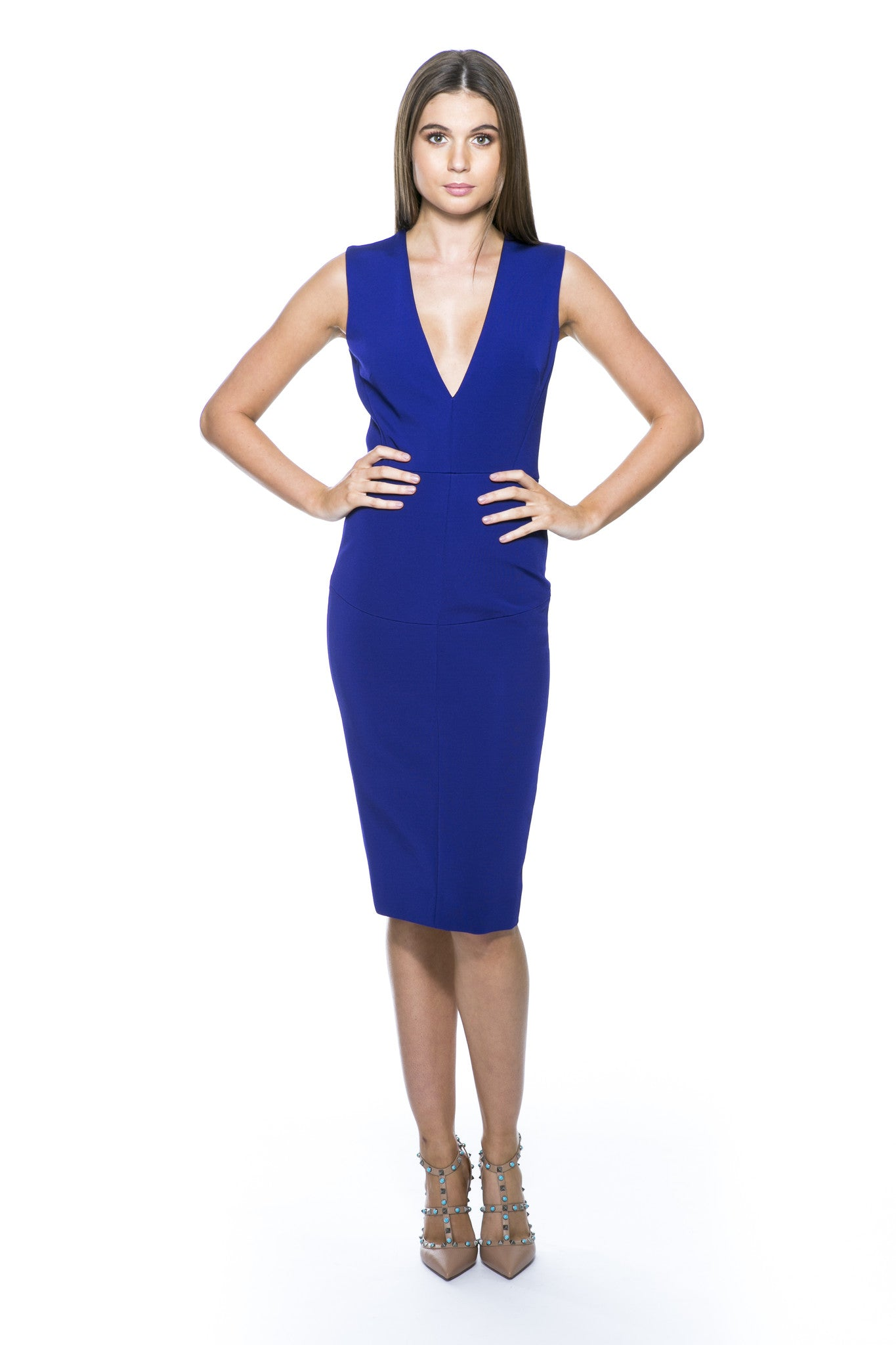 VICTORIA BECKHAM SLEEVELESS DEEP-V FITTED DRESS ELECTRIC BLUE – THE ...