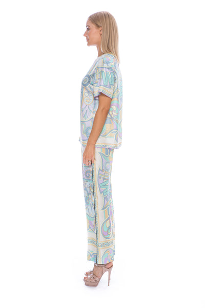 MIAMI PRINT SILK TWILL TROUSER