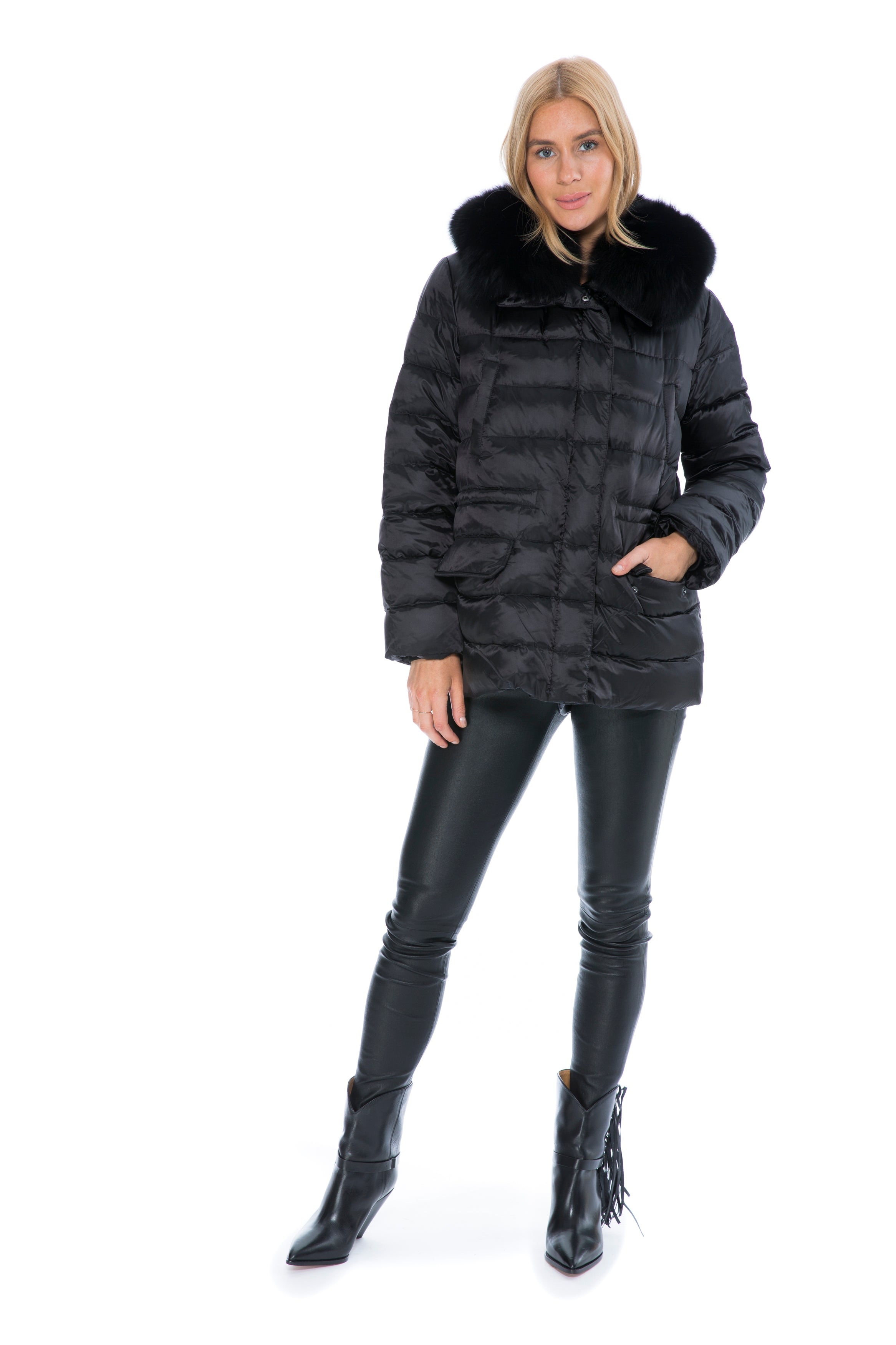 ARMY BLACK FUR LINED NYLON PARKA