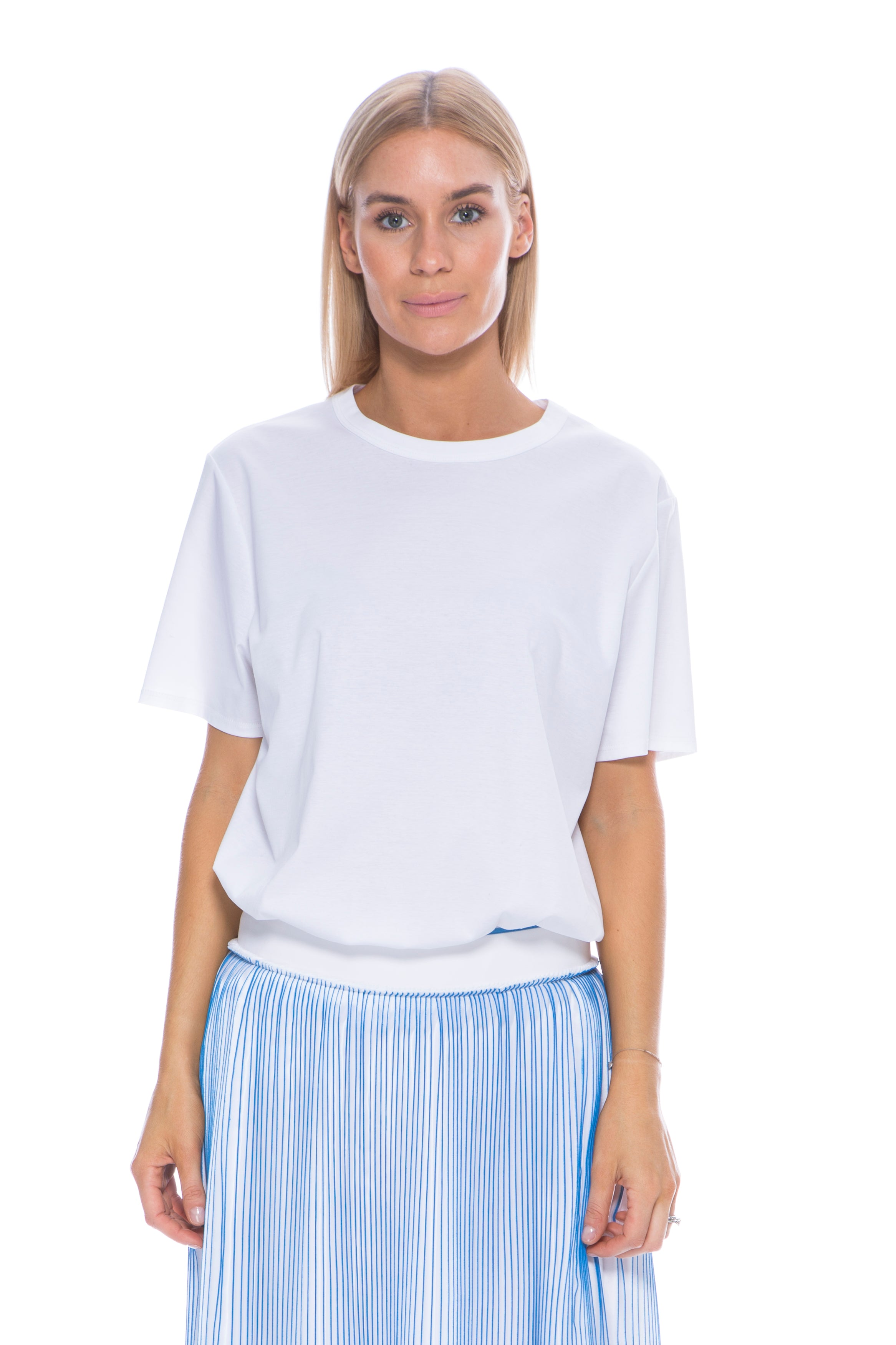 PLEATED SKIRT WHITE / BLUE
