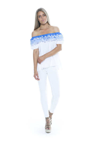 WHITE AND BLUE EMBROIDERED TOP