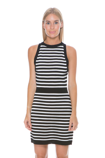 BLACK AND WHITE STRIPE KNIT DRESS