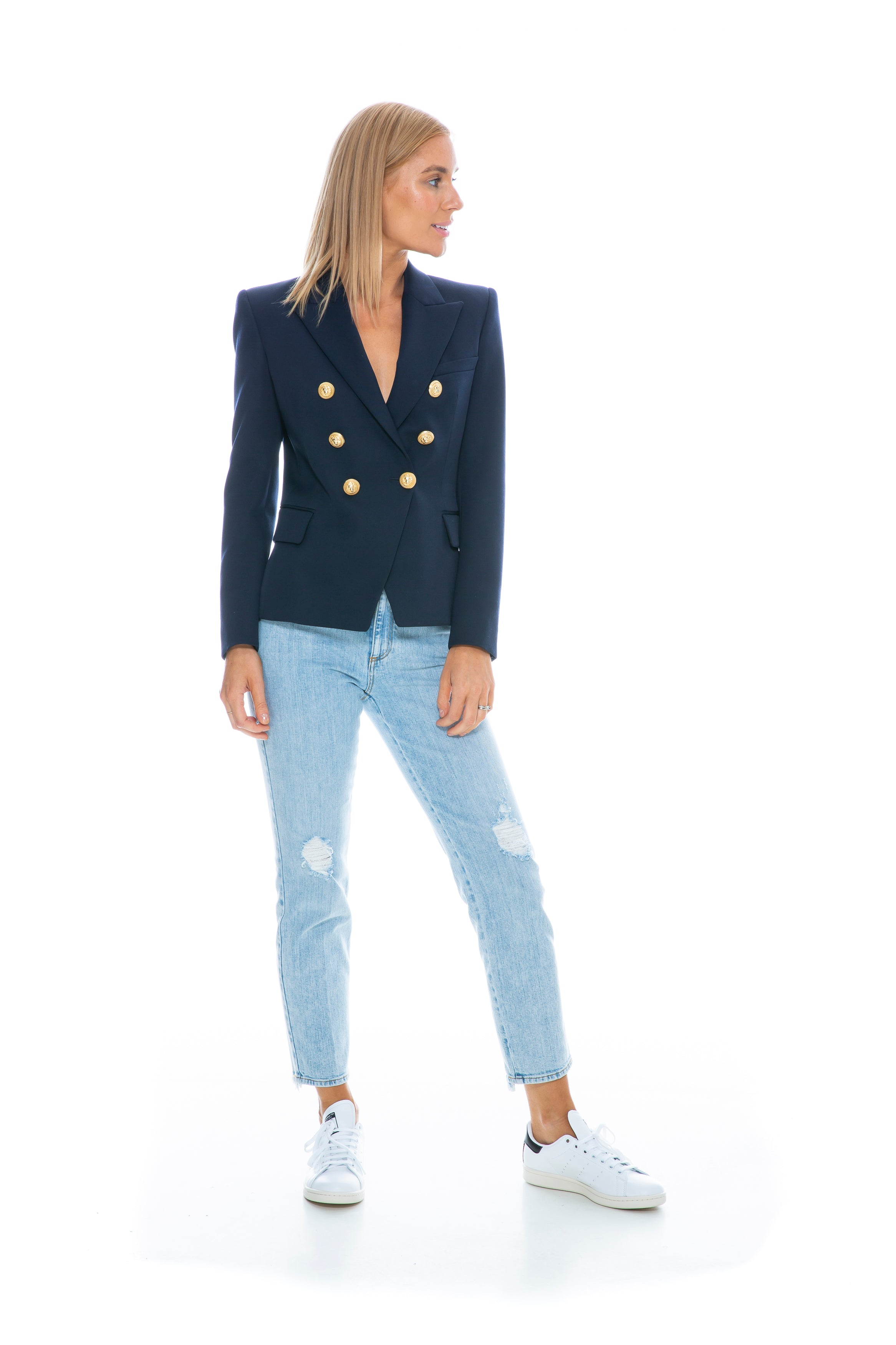 CLASSIC 6 BUTTON BLAZER MARINE WITH GOLD BUTTONS
