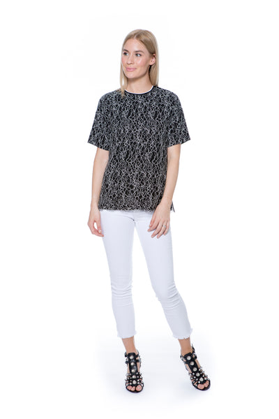 VVB BLACK & WHITE LACE TEE