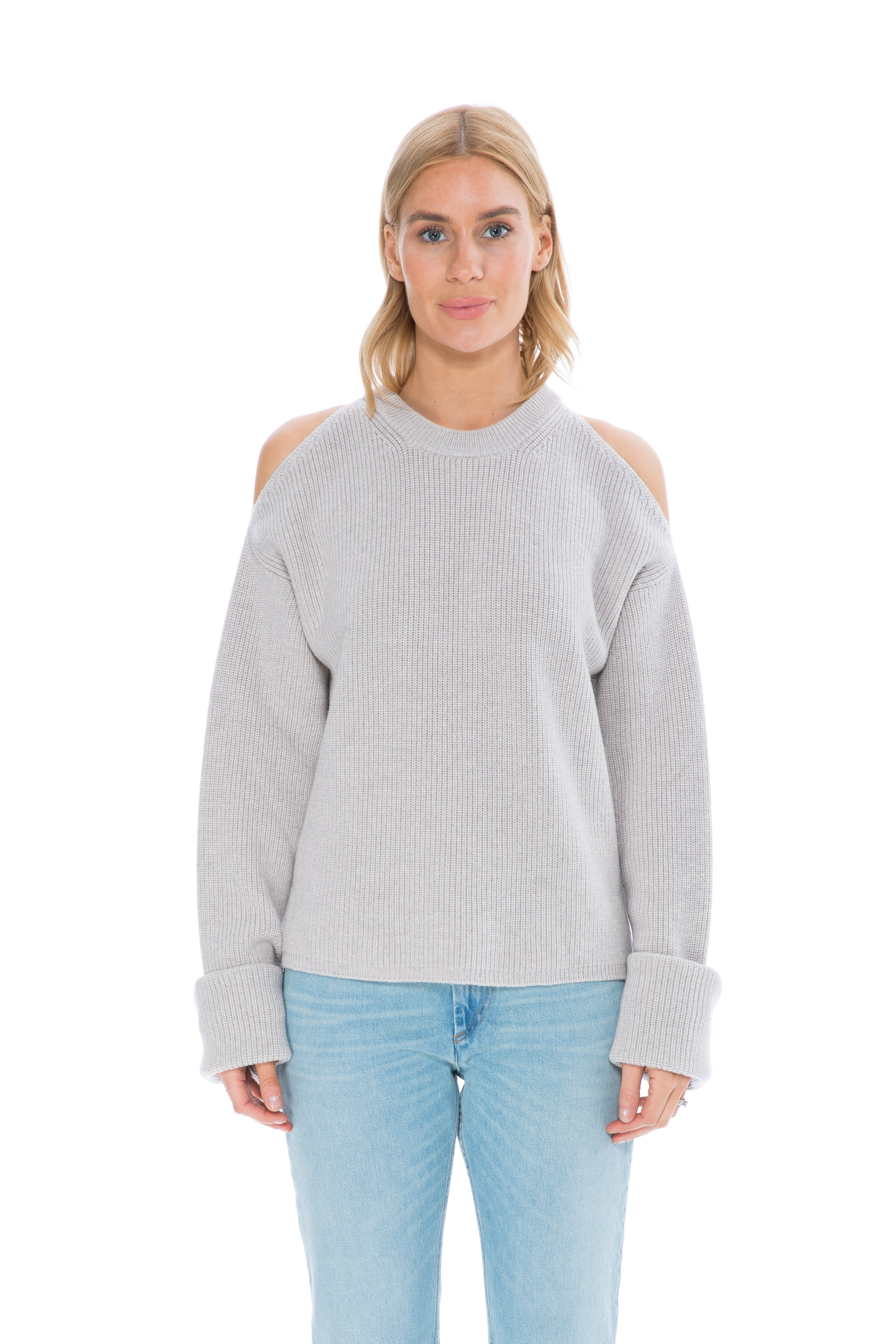 CUT OUT SHOULDER KNIT BONE