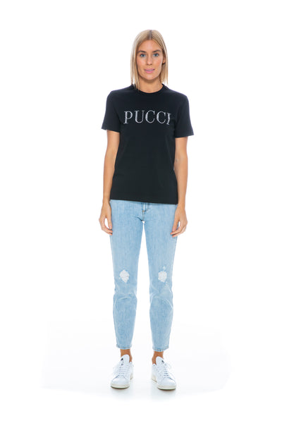EMBELLISHED LOGO T-SHIRT BLACK