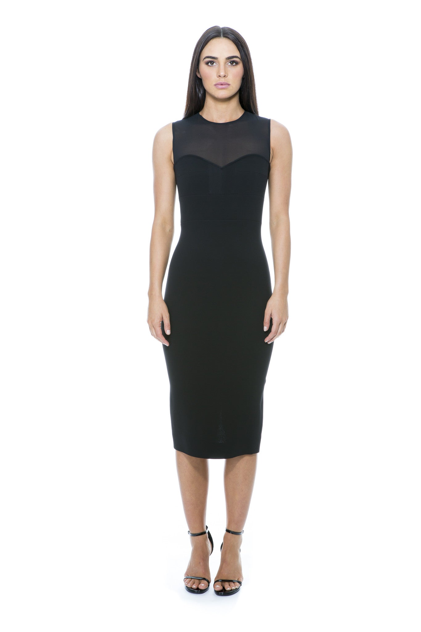 MESH PANEL FITTED BLACK DRESS