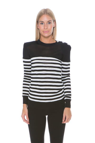 BLACK AND WHITE STRIPE KNIT