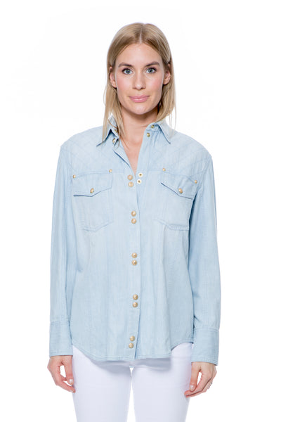 LIGHT BLUE DENIM SHIRT WITH GOLD BUTTONS