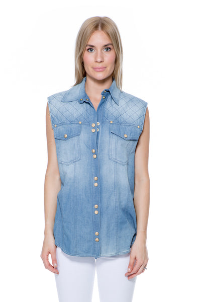 SLEEVELESS DENIM SHIRT WITH GOLD BUTTONS