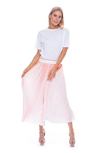 PLEATED SKIRT WHITE / NEON CORAL