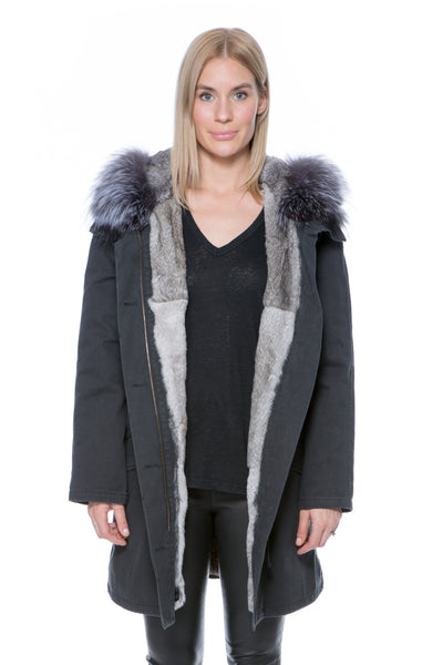 """ARMY"" PARKA BLACK WITH GREY FUR"