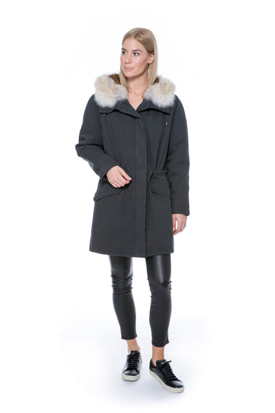 """ARMY"" PARKA BLACK WITH NATURAL FUR"