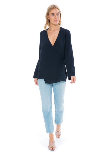 NAVY DRAPED SILK SHIRT