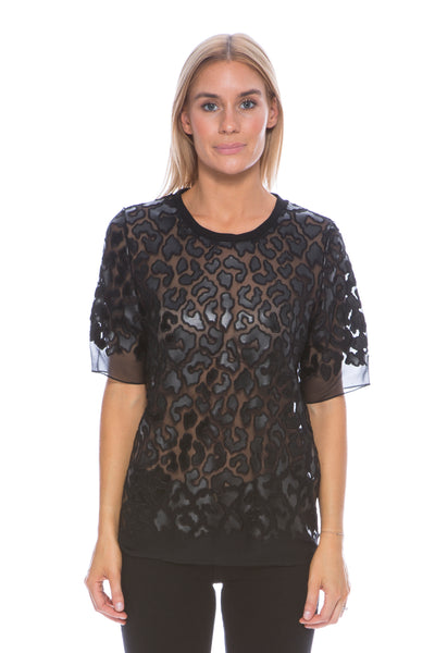 ANIMAL LEATHER EFFECT TOP