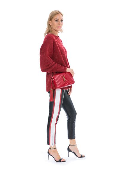 ETOILE AYA LEATHER PANT BLACK/WHITE/RED