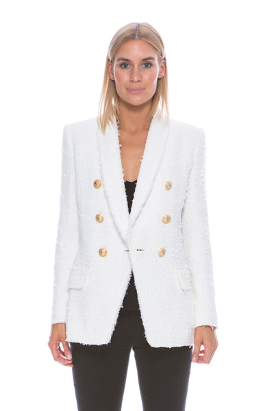 6 BUTTON BLAZER IVORY TWEED