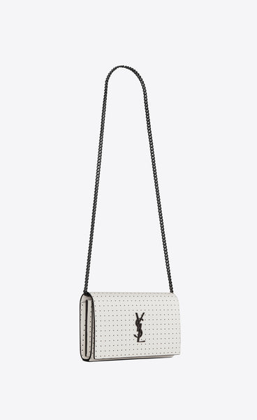 CHAIN WALLET BAG IN WHITE / BLACK